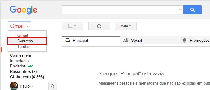 Acesse seus contatos do Gmail (Foto: Reprodução/Paulo Alves)