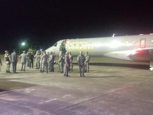 Soldados da Força Nacional ajudarão a combater a onda de ataques em SC (Foto: João Salgado/RBS TV)