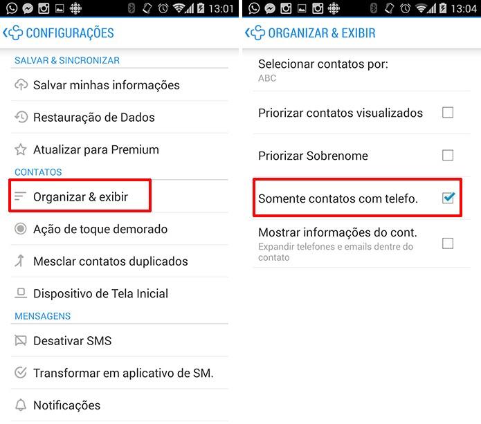 Contacts+ pode exibir apenas contatos do Android que possuam número na agenda (Foto: Reprodução/Elson de Souza)