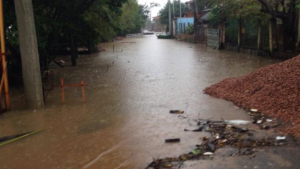 Água alaga ruas na Região das Ilhas em Porto Alegre (Foto: Josmar Leite/RBS TV)