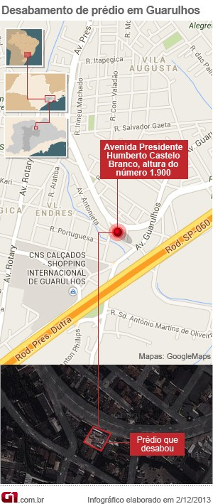 Mapa desabamento Guarulhos (Foto: Arte/G1)
