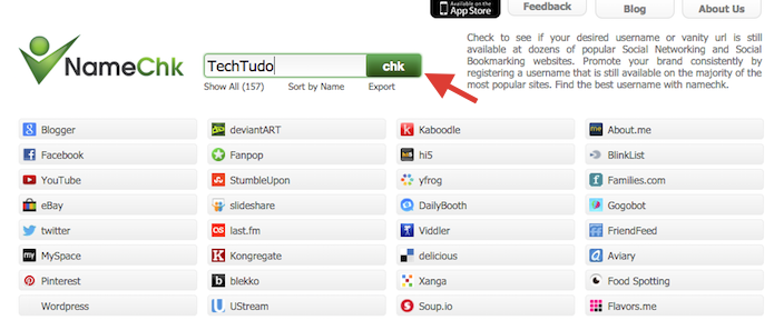 Checando se um nome está disponível nas principais redes sociais com o NameChk (Foto: Reprodução/Marvin Costa)
