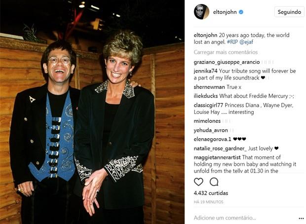 Elton John e Lady Di (Foto: Reprodução/Instagram)