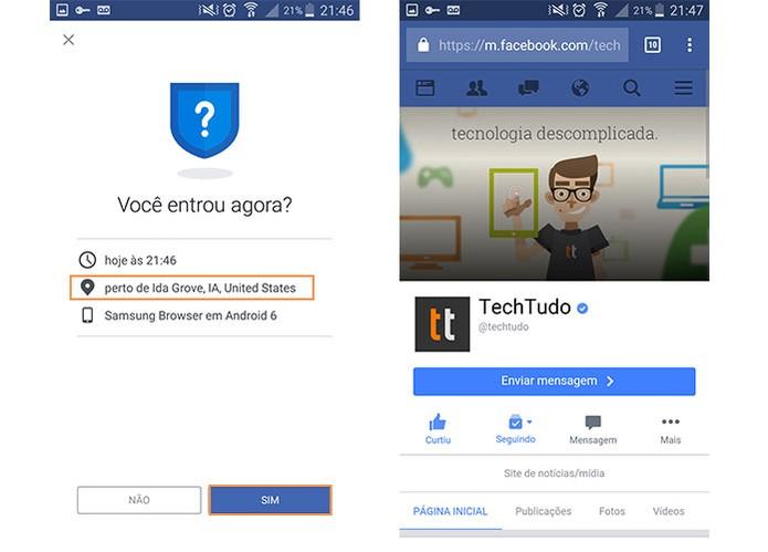Confirme o acesso ao Facebook usando o login do local com VPN (Foto: Reprodução/Barbara Mannara)