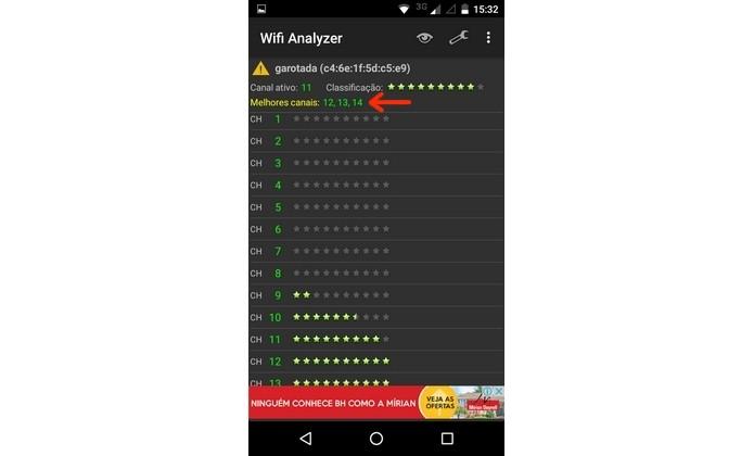 Melhores canais de Wi-Fi identificados pelo Wifi Analyzer (Foto: Reprodução/Raquel Freire