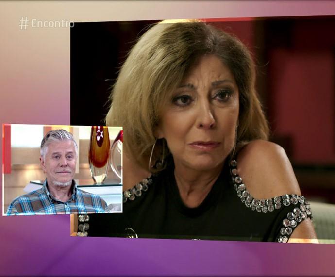 Miguel se emociona ao ver cenas de Marília Pêra (Foto: TV Globo)