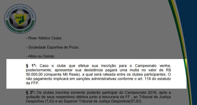 Regulamento do Piauiense (Foto: Reprodução /FFP)
