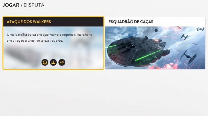 Escolha entre os modos Ataque de Walkers ou Esquadrão de Caças em Star Wars Battlefront (Foto: Reprodução/Rafael Monteiro)