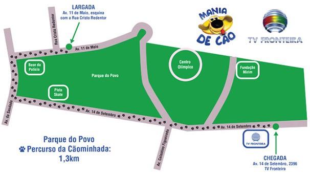 Percurso da cãominhada terá 1,3 km (Foto: Arte: Marketing / TV Fronteira)