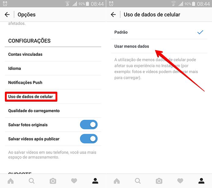Configure o Instagram para não destruir o seu plano de dados (Foto: Reprodução/Filipe Garrett)