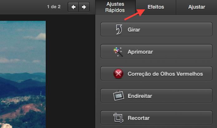 Acessando a página de efeitos do iPhoto no Mac OS X (Foto: Reprodução/Marvin Costa)