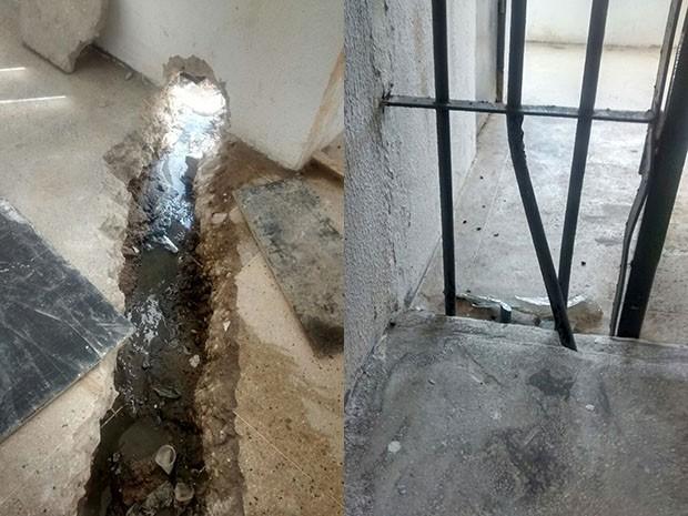 Presos serraram grades e fugiram por buraco que escoava esgoto (Foto: Divulgação/Sejuc)