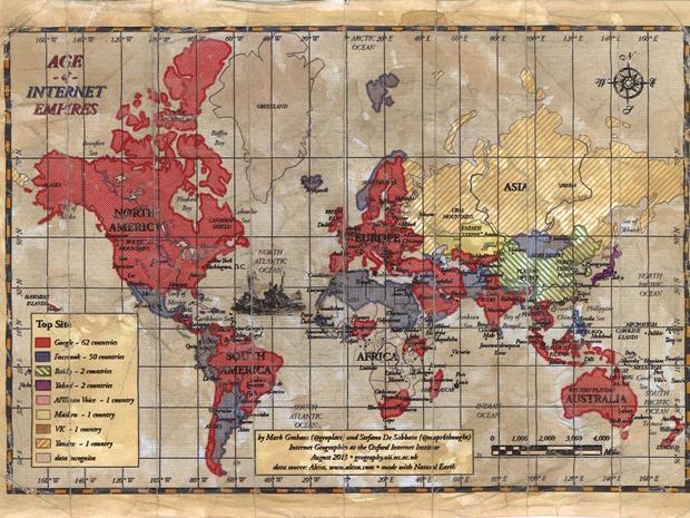 Mapa mostra site mais visitado por país (Foto: Mark Grahan)