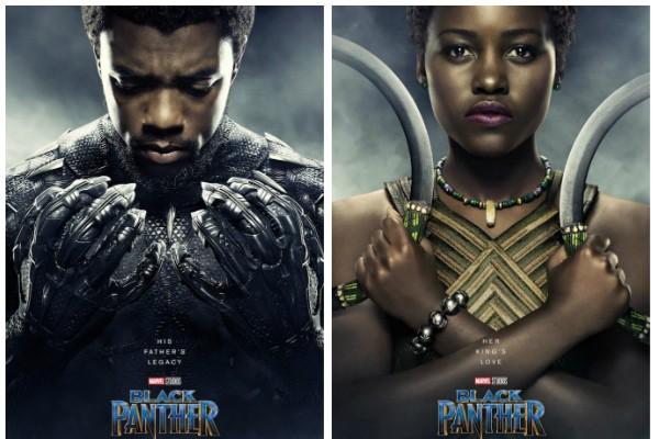 Chadwick Boseman e Lupita Nyongo como seus personagens em Pantera Negra nos novos pôsteres do filme da Marvel (Foto: Divulgação)