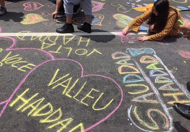Manifestação em homenagem a Fernando Haddad, na avenida Paulista (Foto: Paulo Pinto/AGPT)