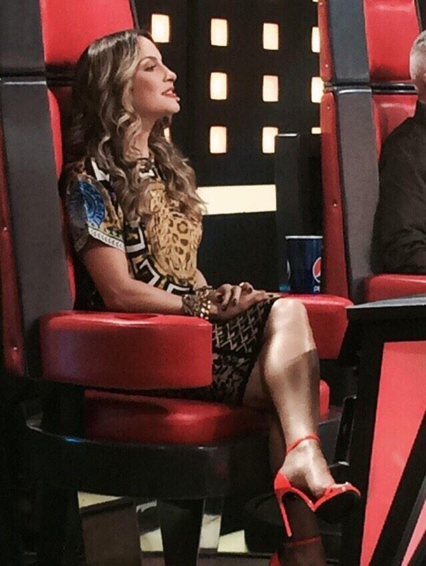 A atriz flagra momento de concentração de Claudia em sua cadeira (Foto: Arquivo Pessoal)
