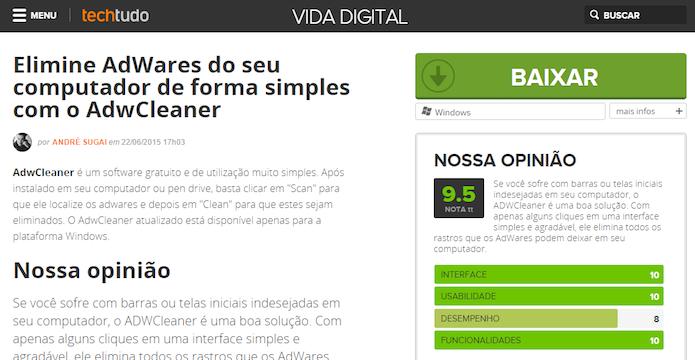 Acesse a página de download do AdwCleaner (Foto: Reprodução/Helito Bijora)