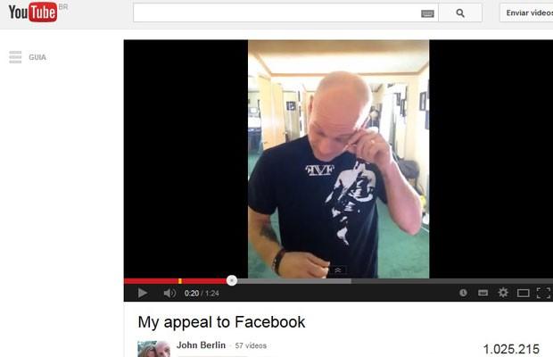Norte-americano John Berlin publicou vídeo no YouTube pedindo ao Facebook para ver o vídeo de retrospectiva disponibilizado pela rede social do filho morto há dois anos. (Foto: Reprodução/YouTube)