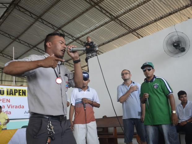Três grupos de hip hop participaram da batalha dentro do presídio no Amapá (Foto: Abinoan Santiago/G1)