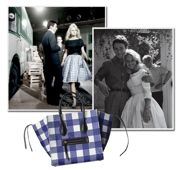 Bolsa Céline, Brigitte Bardot no filme Quer Dançar Comigo (1959) e a atriz em seu casamento com o ator Jacques Charrier, no mesmo ano (Foto: Jacques Dequeker, Pedro Arieta, Marcio Madeira e Divulgação)