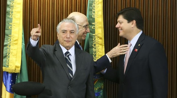 Michel Temer, Henrique Meirelles e Baleia Rossi (Foto: Agência Brasil)