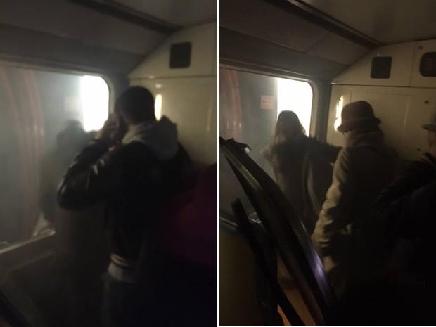 Fotos tiradas por Samla Da Rosa mostram passageiros saindo do metrô após explosão de bomba em Bruxelas (Foto: Samla da Rosa/Arquivo pessoal)