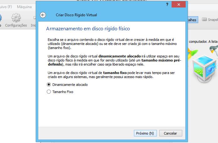 Configurando disco virtual (Foto: Reprodução/Helito Bijora)