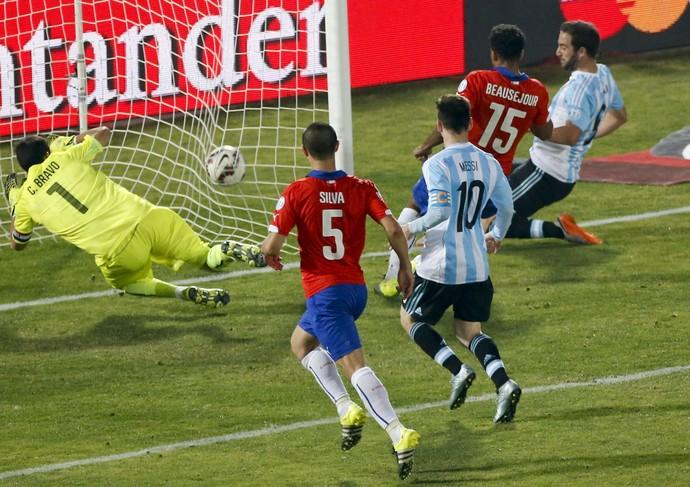 Higuain gol perdido Argentina x Chile Copa América (Foto: EFE)
