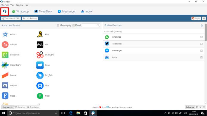 Rambox permite que usuários adicione vários servições simultaneamente (Foto: Reprodução/Elson de Souza)