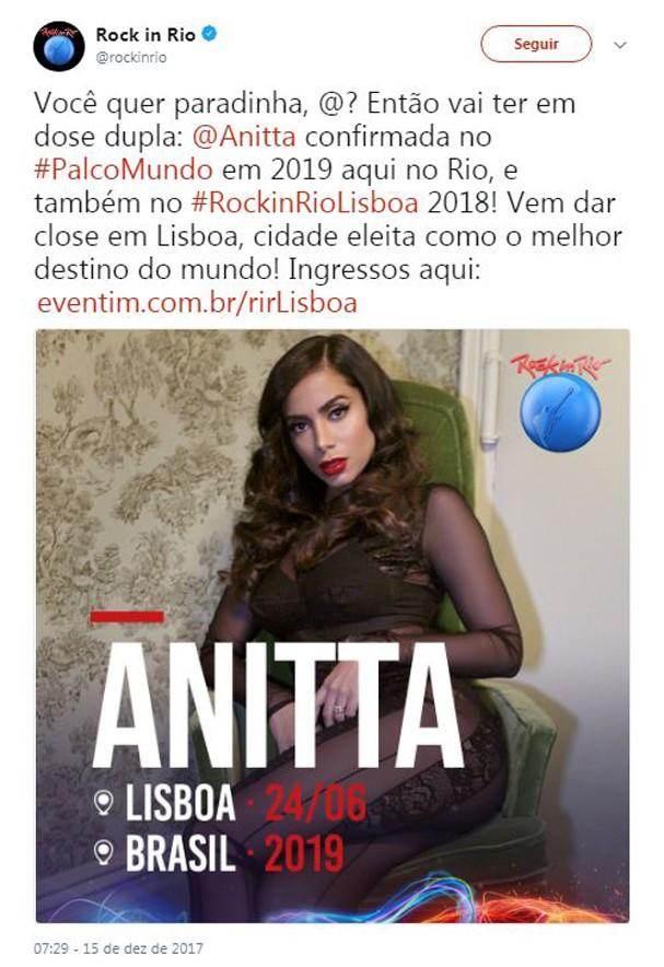 Anitta é confirmada no RIR 2019 (Foto: Reprodução/Instagram)