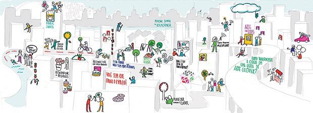 A ilustração foi criada pelo Coletivo Entrelinhas (Foto:  )