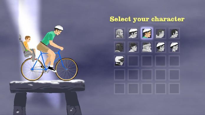 Cada personagem em Happy Wheels possui vantagens, desvantagens e habilidades diferentes (Foto: Reprodução/Rafael Monteiro)