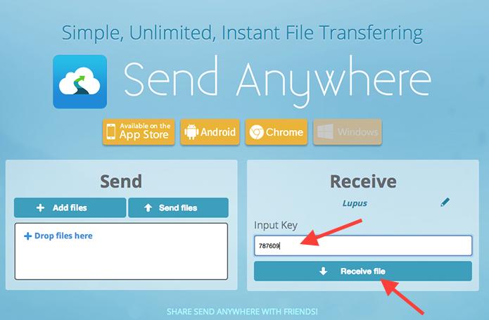 Baixando um arquivo no Send Anywhere utilizando o código de acesso (Foto: Reprodução/Marvin Costa)