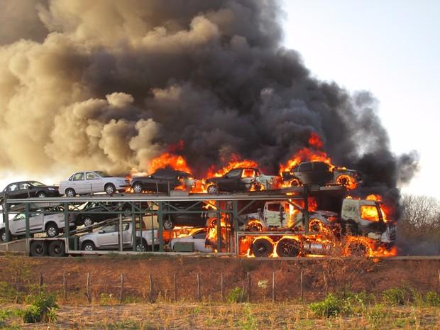 Caminhão cegonha carregado com 10 carros pegou fogo na PI-141 (Foto: Vagner Mota)