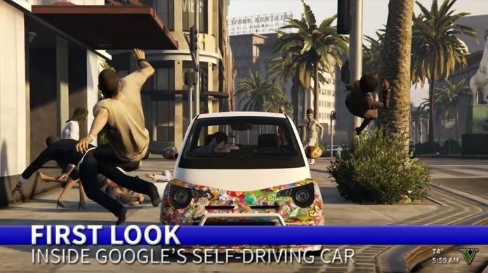 Carro não tripulado do Google em GTA 5 causa bizarros acidentes em Los Santos (Foto: Reprodução/YouTube)