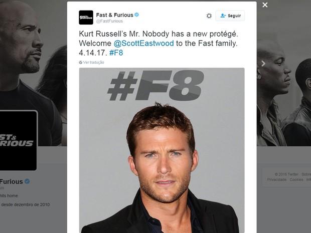 Pefil da franquia 'Velozes e Furiosos' anuncia que Scott Eastwood estará no oitavo filme da saga (Foto: Reprodução/Twitter/FastFurious)