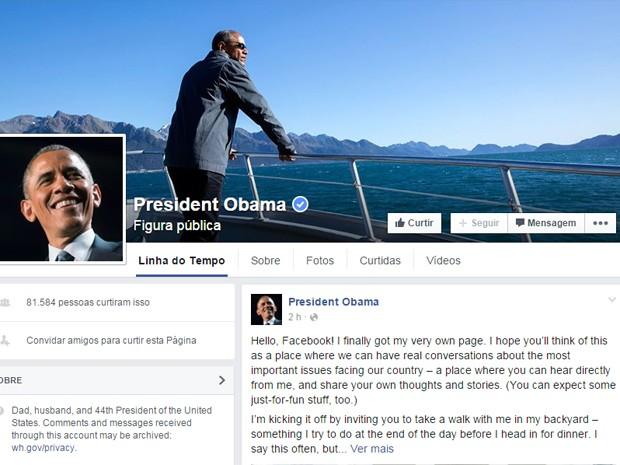Perfil de Barack Obama no Facebook (Foto: Reprodução/Facebook/Barack Obama)