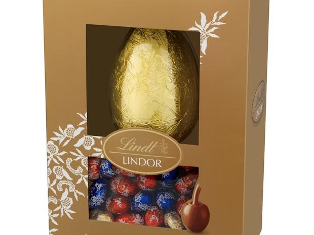Outro destaque da Lindt é o Lindor Mini Ovos Sortidos de 215 g, que vem com um ovo de 160g e 10 trufas ao leite  (Foto: Divulgação)