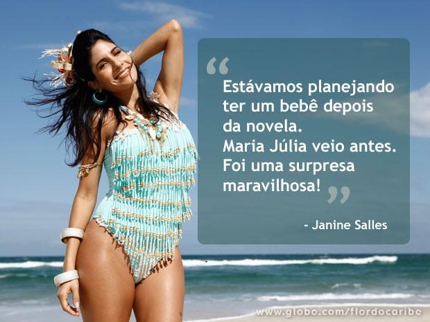 Grávida de cinco meses do Deputado Federal Leonardo Picciani, Janine Salles mantém ótima forma (Foto: Flor do Caribe / TV Globo)