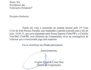 nota, cbf, copa do brasil, sousa, coritiba (Foto: Reprodução / CBF)