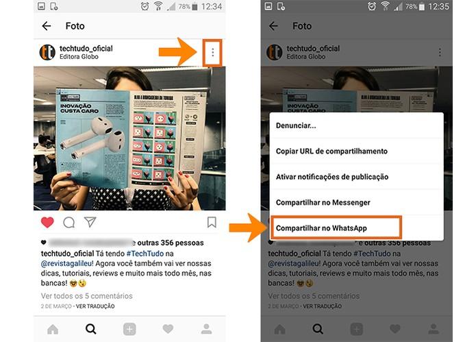 Abra a foto no Instagram que selecione para compartilhar no WhatsApp (Foto: Reprodução/Barbara Mannara)