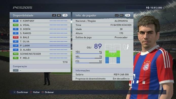 Com overall 89, Lahm pode jogar em vários lugares (Foto: Reprodução/Thiago Barros)