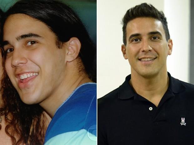 Antes e depois! À esquerda, André Marques como Mocotó e, à direita, em momento atual (Foto: CEDOC / TV Globo / Raphael Dias / Gshow)