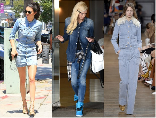 Kendall Jenner, Gwen Stefani  e modelo na passarela da semana de moda de Milão: look todo jeans é tendência para o outono-inverno 2016 (Foto: AKM e Getty)