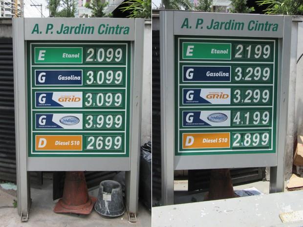 Posto na rua Eleonora Cintra, no Jardim Anália Franco, Zona Leste, teve aumento de R$ 0,10 no preço do etanol e de R$ 0,20 no da gasolina (Foto: Karina Trevizan/G1)