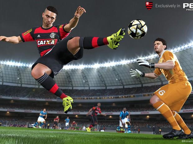 O jogador Guerrero ganha sua versão no Flamengo no game 'PES 2016' (Foto: Divulgação)