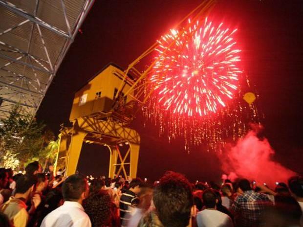 Queima de fogos para comemorou a chegada de 2013 na Estação das Docas, na noite desta segunda-feira (31). (Foto: Everaldo Nascimento/Ag. Pará.)