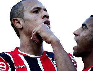 Luis Fabiano e Lucas, Corinthians x São Paulo (Foto: Marcos Ribolli / Globoesporte.com)