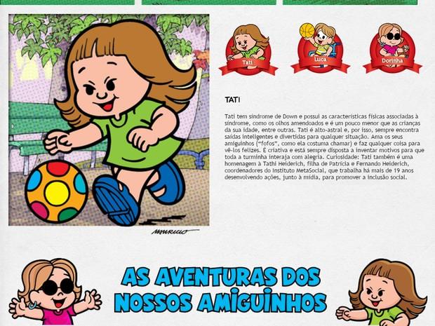 Personagem com síndrome de Down em site da Turma da Mônica (Foto: Reprodução/ Site Turma da Mônica )