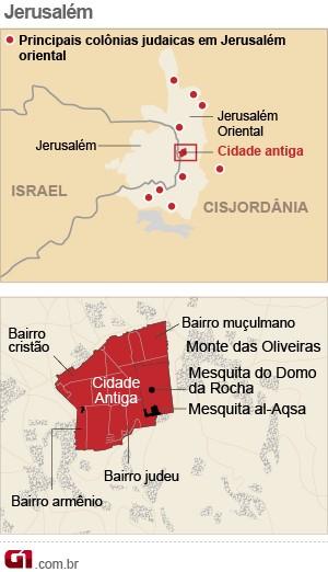 mapa jerusalem (Foto: Arte/G1)